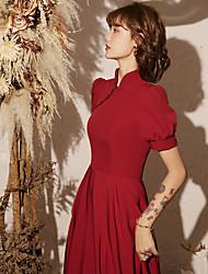 economico -abito da sposa brindisi 2020 nuova estate vino rosso sezione sottile atmosferica gonna abito da sposa in stile cinese femminile cheongsam cinese