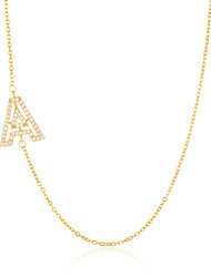 cheap -letter necklace series jewelry, real gold-plated and micro-inlaid zircon copper necklace, clavicle chain