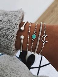 cheap -turquoise simple bracelet moon bead chain bracelet 5 piece set jewelry