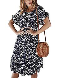 cheap -sobrisah women's casual round neck short sleeve polka dot print loose a-line ruffle swing midi dress navy tag m