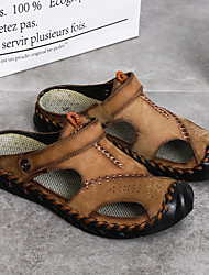 cheap -Men's Sandals Nappa Leather Shoes Comfort Beach Daily Breathable Handmade Wear Proof Black Khaki Brown Summer