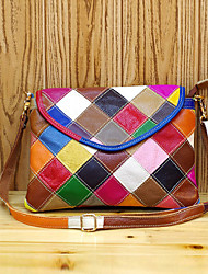cheap -guangzhou leather handbags first layer leather handbags fashion and colorful color matching lattice small square bag single shoulder handbag small bag