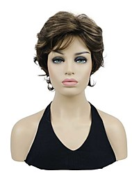 cheap -Natural Look Short Curly Brown/Auburn Highlights Synthetic Wig for Women Mother's Day gift