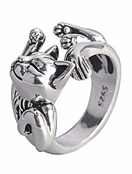 cheap -cat ring plated silver cute animal adjustable paws finger rings cat lovers gifts for women