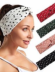 cheap -5 pack dot pattern turban headband for women cross head wrap hair band (color 1)