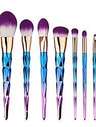 cheap -makeup brushes set 7pcs foundation blending blush concealer eye face liquid powder cosmetics set premium electroplated handle (purple)