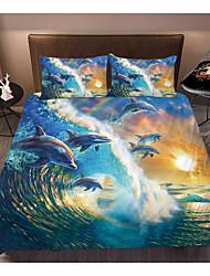cheap -3D Printing Home Bedding Duvet Cover Sets Soft Microfiber For Kids Teens Adults Bedroom Beach/Ocean 1 Duvet Cover + 1/2 Pillowcase Shams