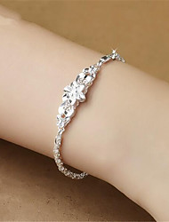 cheap -Women's Bracelet Pendant Bracelet Geometrical Flower Fashion Copper Bracelet Jewelry Silver For Christmas Party Wedding Daily Work / Silver Plated