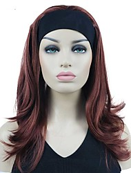 cheap -Long Straight Layered Headband attached Bleach Burgundy Full Synthetic Wig Hair Piece