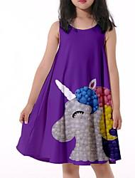 cheap -Kids Little Girls' Dress Unicorn Graphic Print Purple Knee-length Sleeveless Flower Active Dresses Summer Regular Fit 5-12 Years