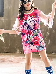 cheap -Kids Little Girls' Dress Cartoon Causal Blushing Pink Knee-length Half Sleeve Active Dresses Summer Loose 3-13 Years