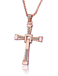 cheap -Women's Men's Cubic Zirconia Pendant Necklace Classic Cross Fashion Gold Plated Rose Gold Gold Silver 60 cm Necklace Jewelry 1pc For Anniversary Gift Festival