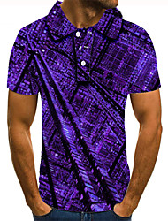 cheap -Men's Polo 3D Print Graphic Prints Building Button-Down Short Sleeve Street Tops Casual Fashion Cool Purple