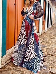 cheap -european and american cross-border women's 2021 new temperament dress open back printed bohemian skirt mp-676