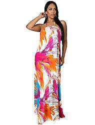 cheap -9424 cross-border european and american wish open back sling wide loose casual women's dress summer