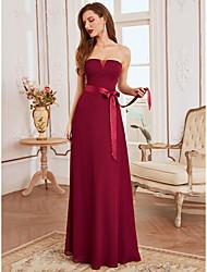 cheap -A-Line Strapless Floor Length Chiffon Bridesmaid Dress with Sash / Ribbon