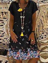 cheap -2021ebay women's clothing amazon popular short-sleeved v-neck flower print loose cotton and linen british style dress
