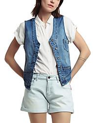 cheap -amazon hot models waistcoat women's foreign trade plus size denim vest women's autumn vest and white waistcoat women's wear one drop