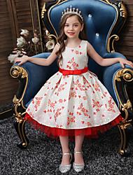 cheap -Princess Asymmetrical Flower Girl Dresses Wedding Satin Sleeveless Jewel Neck with Sash / Ribbon