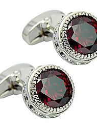 cheap -daptsy luxury round engraved red crystal cufflinks, rhinestone whale back cufflinks, elegant shiny cufflinks