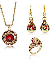 cheap -Women's Cubic Zirconia Jewelry Set Geometrical Flower Fashion Gold Plated Earrings Jewelry Gold For Wedding Anniversary Party Evening 1 set