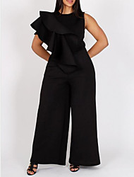cheap -Women's Plus Size Ruffle Sleeveless Solid Color Jumpsuit 3XL 4XL Black Red