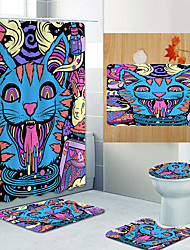 cheap -Photo Cat And Tiger Digital Printing Four-piece Set Shower Curtains and Hooks Modern Polyester Machine Made Waterproof Bathroom