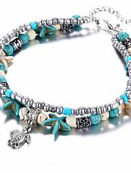 cheap -fashion double anklet conch starfish rice bead yoga beach turtle pendant anklet bracelet