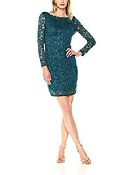 cheap -marina women's all over lace dress with long sleeve and scoop back, jade, 10