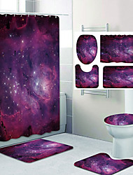 cheap -Beautiful Starry Sky Pattern Printing Bathroom Shower Curtain Leisure Toilet Four-Piece Design