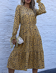 cheap -2021 spring new mid-length skirt yellow leopard chiffon elastic waist temperament commuter hedging printed dress women