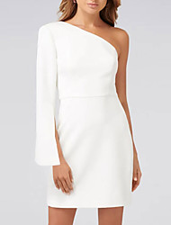 cheap -Sheath / Column Minimalist White Wedding Guest Cocktail Party Dress One Shoulder Long Sleeve Short / Mini Satin with Draping 2021