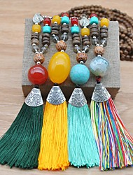 cheap -Women's Turquoise Long Necklace Tassel Artistic European Folk Style Boho Wood Fabric Stone Blue Yellow Green Rainbow 51-80 cm Necklace Jewelry 1pc For Party Evening Street Gift Prom Festival