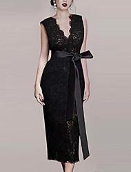 cheap -Sheath / Column Little Black Dress Elegant Homecoming Cocktail Party Dress V Neck Sleeveless Ankle Length Lace with Sash / Ribbon 2021