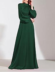cheap -A-Line Minimalist Elegant Wedding Guest Prom Dress High Neck Long Sleeve Floor Length Imitation Silk with Sleek 2021