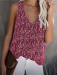 cheap -Women's Blouse Tank Top Vest Plain Print V Neck Beach Tops Blue Red Black