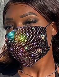 cheap -belicey glitter rhinestone mesh face macks for women black sparkly crystal rhinestones mesh face cover chain nightclub masquerade diamond madks decoration face banada (black ab)