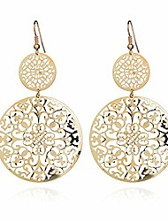 cheap -delicate filigree disc drop earrings double round disc statement earrings bohemia metallic disc dangle hook earrings for women girls