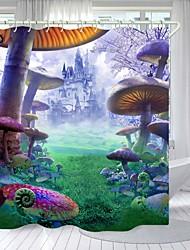 cheap -Castle Mushroom Digital Printing Shower Curtain Shower Curtains Hooks Modern Polyester New Design