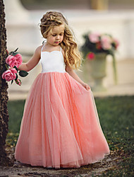 cheap -Kids Little Girls' Dress Dusty Rose Solid Colored Quinceanera Wedding Party Pleated Halter Purple Blushing Pink Light Blue Maxi Sleeveless Basic Dresses