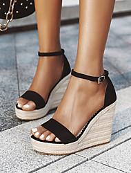 cheap -Women's Sandals Wedge Sandals Espadrilles Comfort Shoes Wedge Heel Round Toe Wedge Sandals Nubuck Solid Colored Summer Almond Black / Platform Sandals