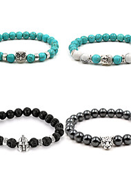 cheap -natural stone 8mm turquoise owl buddha head diy volcanic stone helmet black gallstone panther head bracelet