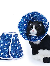 cheap -Dog Cat Pet Cone Pet Recovery Collar Elizabeth circle Adjustable Stress Relieving Safety Anti-Bite Lick Wound Healing After Surgery Protective Walking Stars Cotton Small Dog Blue