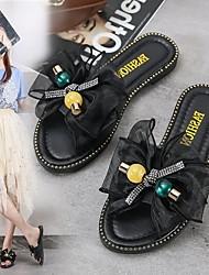 cheap -Women's Flats Flat Heel Open Toe PU Bowknot Sparkling Glitter Beading Solid Colored Black Beige