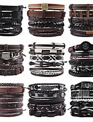 cheap -vintage men's hand jewelry 5 packs cross braided leather adjustable set bracelet