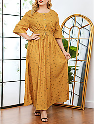 cheap -Women's Plus Size Dresses A Line Dress Maxi long Dress Half Sleeve Print Patchwork Print Casual Spring & Summer Light Yellow L XL XXL 3XL