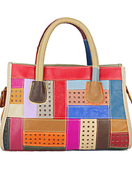 cheap -cross-border new leather handbag fashion trendy bag color handmade geometric pattern hit color portable messenger dual-use