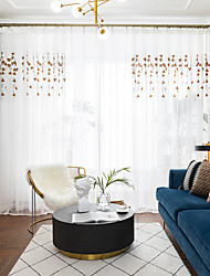 cheap -Two Panel Small Fresh Style Embroidered Window Screen Living Room Bedroom Dining Room Study Room Children's Room Translucent Tulle