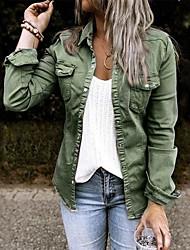 cheap -Women's Blouse / Shirt Solid Colored Denim Casual Spring &  Fall Denim Jacket Long Daily Long Sleeve Denim Coat Tops Black