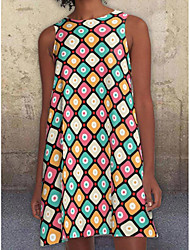 cheap -2021 european station european and american new digital printing round neck loose big swing strapless sleeveless mid-length dress